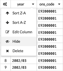 hide column, grabbed on 03.04.18, using XAP version 1.19.12 4375-796a171cd, from https://edcvaatest04.aridhiatest.net/#/workspaces/7441/datatable/dataset/44420