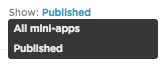 mini-apps views, grabbed on 20.01.17, using XAP version 1.19.1 2740-8759a, from https://edcvaatest04.aridhiatest.net/#/workspaces/1152/mini_apps